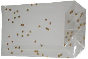 100 OPP-Blockbodenbeutel mit Siegelnaht Weihnachtsbeutel mit Sternen Gold 145x235mm