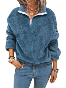 Damen Fleece Pelz Flauschige Winter Thermische Teddybär Jacke Mantel Hoodie Outwear Top,Farbe: Blau,Größe:5XL