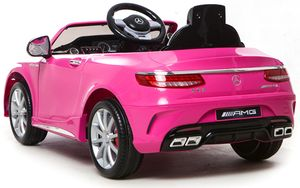 Mercedes-Benz S63 AMG Soft-Start Cabriolet Ride-On Kinderauto elektrisch 12V Elektro Kinderauto Kinderfahrzeug Kinder Elektroauto (Rosa/Pink)