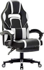 Gaming Stuhl Bürostuhl Schreibtischstuhl Gamer Stuhl Höhenverstellbar mit Fußstützen, Weiß