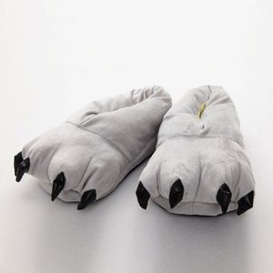 Winter Paws Hausschuhe Warm Cute Animal Claws Kostuemschuhe Rutschfeste Rollenspielparty fuer Kinder Erwachsene Freizeitschuhe[grau-L]