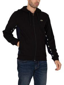 Lacoste Herren Colourblock Fleece Zip Through Hoodie, Schwarz L
