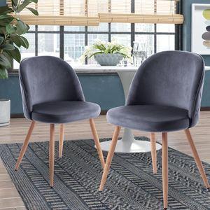 Merax Esszimmerstühle 2 Stk. Wohnzimmerstuhl Polsterstühle  Samt Stoff, Farbeauswahl (Grau)