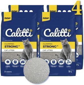 4-er Set Calitti 100% Natürlich Strong ist eine Klumpstreu für Katzen aus Bentonit  5L