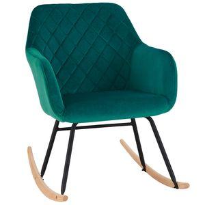 Schaukelstuhl Schwingstuhl Stoff Samt petrol blau grün gesteppt Schwingsessel Relax Stuhl Armlehnstuhl
