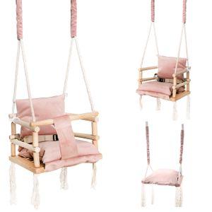 Babyschaukel Kinderschaukel Holz Stoff  Babysitz Baby Schaukel zum Aufhängen 3 in 1 Rosa Grau 8336 , Farbe:Rosa/ pink