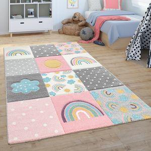 Kinderteppich Teppich Kinderzimmer Spielteppich Regenbogen Wolken Rosa Grau Weiß, Grösse:120x170 cm
