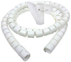 Bambelaa! Kabelschlauch 1,5m Kabelkanal kürzbar Kunststoff flexible Kabelorganisation 20mm Durchmesser (Weiß, 1,5m)