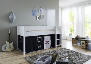 Relita, Halbhohes Bett Luka 90x200 MDF/Buche weiß lackiert, mit Vorhang