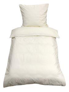 2tlg Bettwäsche 135x200 Beige Uni Decke Kissen Bezug Set mit Reißverschluss