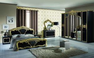 Barock Schlafzimmer Elena in Schwarz/Gold 6-Teilig 180 x 200 cm - 6-Türig