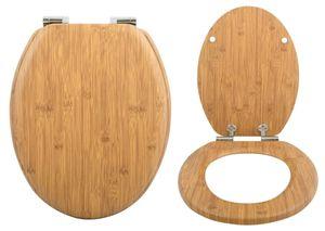 Spirella WC Deckel MDF mit Absenkautomatik Bambus mit High Gloss Finish und Schnellbefstigung Scharniere aus Edelstahl