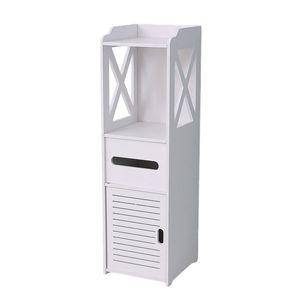 Freistehender Badezimmer-Aufbewahrungs-Eck-Unterschrank mit Türen Schmaler Bad-Waschtisch-Organizer Handtuchhalter für Papierhalter Größe 200x150x800mm