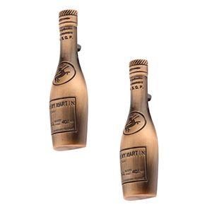 2 Stü Antiken Stil Kupfer Bronze Weinflasche Geformt Schrank Kleiderschrank Tür Schublade Stoßgriff Griffknopf