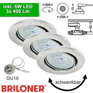 3er Set Einbauspots Aluminium GU10 inkl. 5W LED schwenkbar