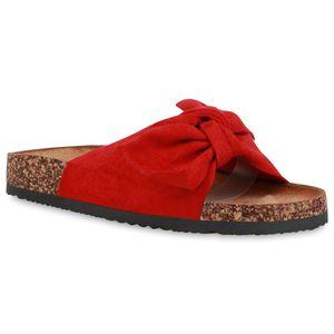 Mytrendshoe Damen Sandalen Pantoletten Sommer Schlappen Hausschuhe 833538, Farbe: Rot, Größe: 39