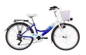 24 ZOLL Kinder Mädchen Fahrrad Kinderfahrrad Cityfahrrad Citybike Mädchenfahrrad City Bike Rad Led Dynamo Beleuchtung STVO Shimano 6 Gang FLAIR Blau