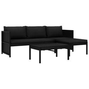 Hochwertigen Garten Sitzgruppe Gartengarnitur - 3-teiliges Garten-Lounge-Set - Gartengarnitur Set mit Auflagen Poly Rattan Schwarz☆9762