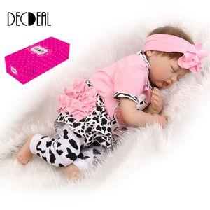 22 zoll 55 cm Silikon Reborn Kleinkind Baby Puppe Mädchen Schlafende Puppe Boneca Mit Kleidung Lebensechte Nette Geschenke Spielzeug