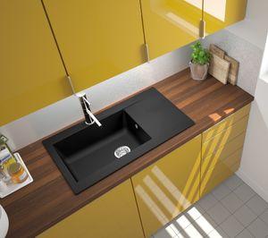 respekta Spüle Küchenspüle Einbauspüle Mineralite Spülbecken 86 x 50 schwarz