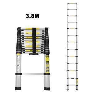 Hengda 3.8M Teleskopleiter Aluminium Mehrzweckleiter Fingerklemmschutz Auszeihleiter  Klappbar Aluminiumleiter Antirutsch bis 150 KG