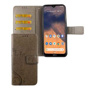 Nokia 2.3 Handy Hülle Schutz-Tasche Cover Flip-Case Kartenfach Grau