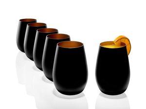 Stölzle Lausitz Becher 6er Set 465 ml matt schwarz und bronze Wassergläser 3520012