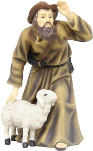 Krippenfigur Schäfer mit Schaf. Zu 15 cm Krippenfiguren. Aus Polyresin, handbemalt.