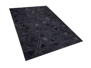 Teppich Schwarz 140 x 200 cm aus Leder Geometrisches Muster Handgefertigt Modern