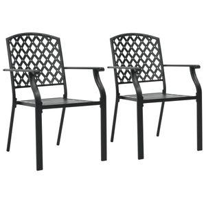 vidaXL Stapelbare Gartenstühle 2 Stk. Stahl Schwarz