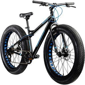 Galano Fatman 4.0 26 Zoll Mountainbike Fatbike Fahrrad Fat Bike zum mountainbiken Fatty 7 Gänge, Farbe:schwarz/blau