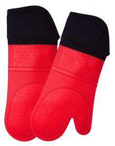AVANA Silikon Ofenhandschuhe Hitzebeständige Anti-Rutsch Kochhandschuh mit weichem Baumwoll-Innenfutter bis zu 350°C Handschuhe für Kochen und Backen - Rot