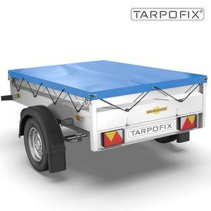 Tarpofix® Anhängerplane 211 x 116 x 8 cm - Flachplane mit Gummiseil  für Humbaur Steely & Startrailer I PKW Anhänger Abdeckplane