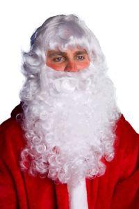 Bart in weiß Kostüm Zubehör Weihnachtsmann Nikolaus