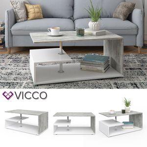 Vicco Couchtisch GUILLERMO in Weiß Beton Optik  - Wohnzimmer Sofatisch Kaffeetisch