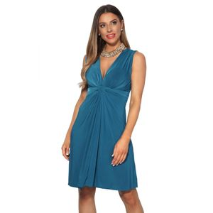 Krisp Damen Kleid mit Knoten-Design vorne, V-Ausschnitt, kurz, ärmellos KP117 (40 DE) (Petrol)