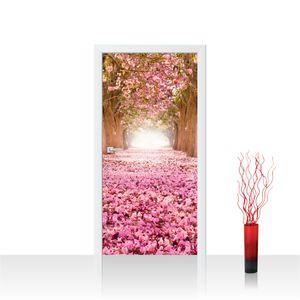 Tür Fototapete PREMIUM PLUS selbstklebend no. 151 - 100X211 cm Herbstblätter Wald Bäume Baum Forest Herbst
