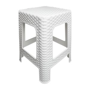 Hocker Rattan Badhocker Sitzhocker Stapelbar Kunststoff Campinghocker Weiß