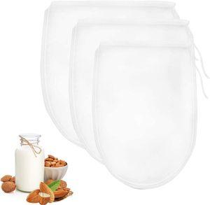 3 Stück Verschiedene Größen Nussmilchbeutel, Feinmaschiges Filtertuch, Seiher, Passiertuch,für vegane Nussmilch Mandelmilch Haselnussmilch Feinmaschiges Passiertuch Filtertuch