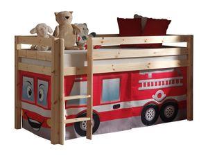 "Vipack Spielbett Pino mit Textilset ""Feuerwehr"" - Kiefer massiv natur lackiert, Maße: 210 cm x 114 cm x 106 cm; PICOHSZG1070"