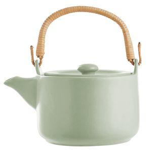 Teekanne 1L aus Steingut mit Bambus-Henkel in 3 Farben, Farbe:Mint