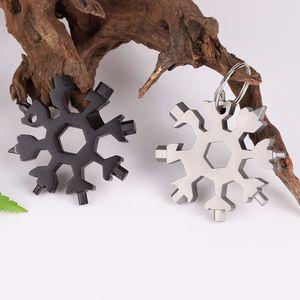2 Stück 18 in 1 Edelstahl Multifunktionswerkzeug Schneeflocke Multi-Tool Schlüsselanhänger(Silber&Schwarz)