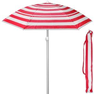 Sonnenschirm Streifen Rot 175 cm Strandschirm UV 50+ Sonnenschutz Gartenschirm verstellbar Schirm