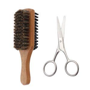 Herren Bartschere Bartbürste für Schnurrbart, Spitzbart, Kinnbart Bartpflege