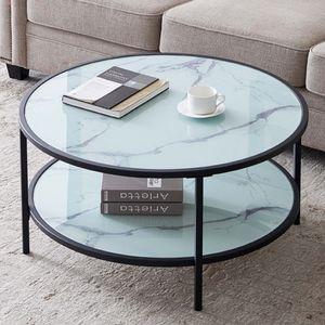 Couchtisch Rund Wohnzimmertisch Marmor Tischplatt Metallrahmen Höheverstelltbar Beine mit Bodenschutz Kaffeetisch mit 2 Platte Sofatisch 80cm Durchmesser