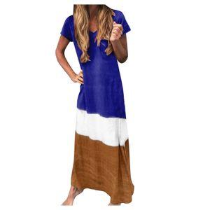 Frauen Plus Size Daily Tie-Dyed Farbblock Loose V-Ausschnitt Kurzarm Kleid Größe:M,Farbe:Blau