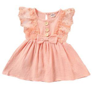 Baby Mädchen Einfarbig Spitzen Ärmellos Kleid Bogen BeiläUfiges Strand Kleid Gr.12-18 Monate Rosa