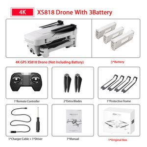 Visuo XS818 Zen Mini GPS-Drohne mit 5G Wifi FPV 4K HD Doppelkamera RC Quadcopter mit optischem Durchfluss