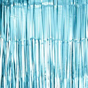 Oblique Unique Lametta Vorhang für Weihnachten Silvester Geburtstag Deko Party Fasching Karneval - matt hellblau