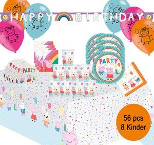 Party-Set Kindergeburtstag Peppa Wutz Pig, 56-tlg.